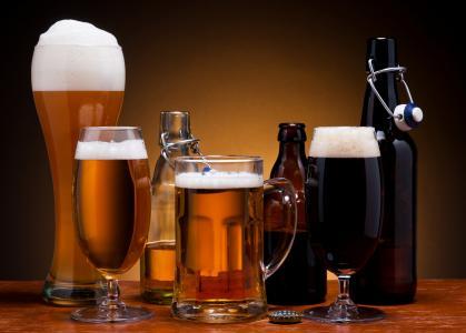 泡沫,瓶子,黑暗,啤酒,眼镜