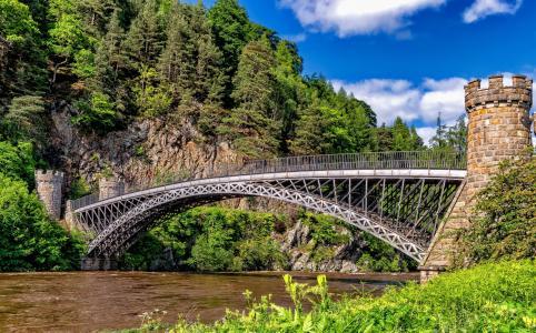 英格兰,桥,河,自然