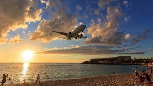 飞机,天空,沙滩,人们