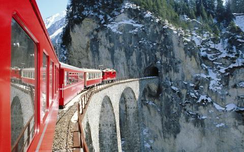 火车,火车,桥,山,阿尔卑斯山,瑞士