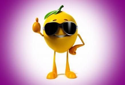 柠檬,积极,背景,紫罗兰色,微笑,眼镜,3D,美丽,柠檬,微笑