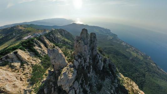 自然,乌克兰,克里米亚,山,森林,裙子,ai petri,索道,黑海,天空,光,太阳,1234米,美丽,misor,gaspra,雅尔塔,岩石