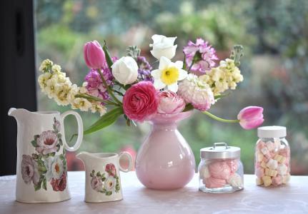 郁金香,花瓶,花束,康乃馨,棉花糖,水罐