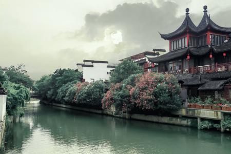 南京夫子庙秦淮河畔古风建筑