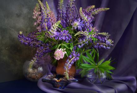 织物,花瓶,花,羽扇豆