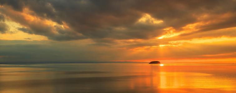 天空别致,日落,太阳,天空,美女,海洋,海岸,宽屏