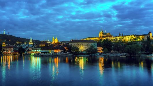 晚上,城市,河流,布拉格,捷克共和国