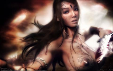匕首,乳头,胸部,女孩