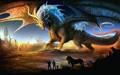 幻想,龙,龙,翅膀,巨人,艺术