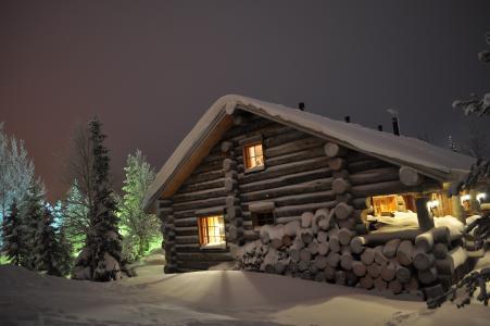 冬天,雪,房子,窗户,晚上