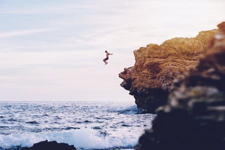 飞行,岩石,海,危险