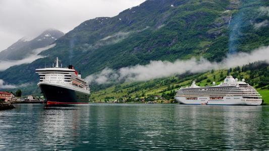 挪威,峡湾,山脉,船只,邮轮