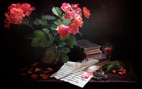 普希金图案,鲜花,书籍,玻璃,羽毛,墨水瓶,Marina Volodko
