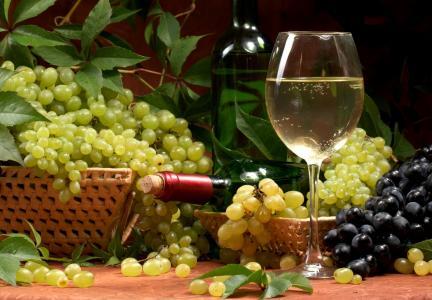 葡萄酒,瓶,篮子,玻璃,叶子,白色,葡萄