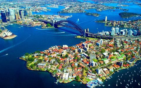 澳大利亚,悉尼,海湾,城市,全景,摄影,航空