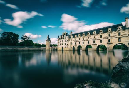 法国,天空,树木,池塘,湖,城堡,塔