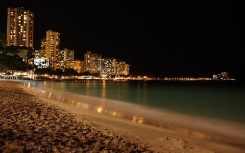 海岸,高层建筑,晚上