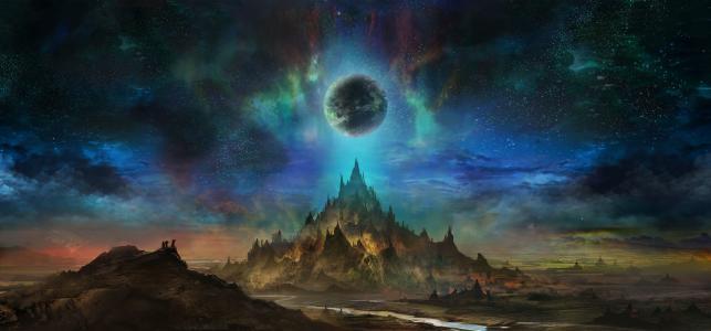 艺术,行星,天空,星星,月亮,幻想