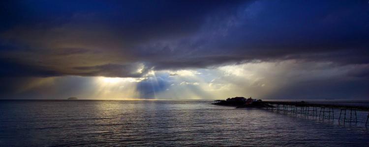 海洋,天空,太阳,光线,云,光滑,美女,地平线