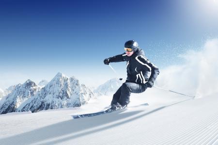 滑雪板,山,雪