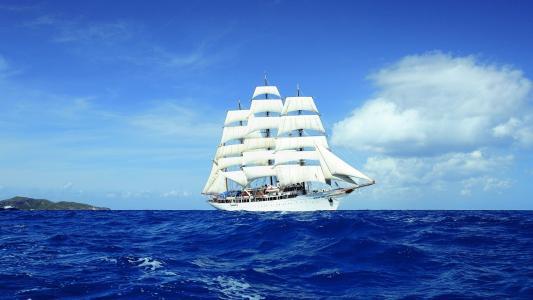 船,帆船,海