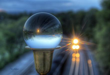 球,玻璃,火车,反射,眩光