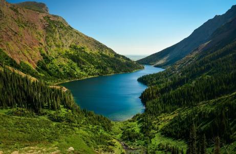 自然,山,湖,森林,美丽,流,超级照片