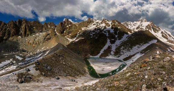 翡翠湖,生活,峡谷Kullumkol,高加索山脉,艾丝黛拉