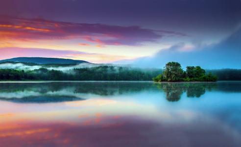 性质,钓鱼,水,镜子,天空,日落,美丽,岛,山,森林