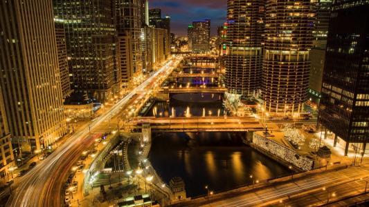 芝加哥,芝加哥,城市,夜晚,灯光,照明,建筑,河,桥梁,摩天大楼,美容,夜晚