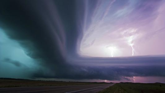 自然,路,云,美丽,闪电,阴云密布