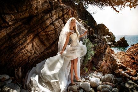 石头,金发,裙子,新娘