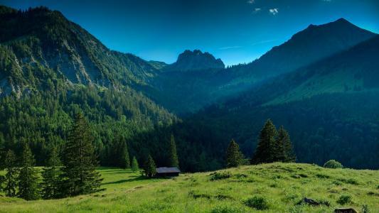 自然,山,美女,小房子,超级照片