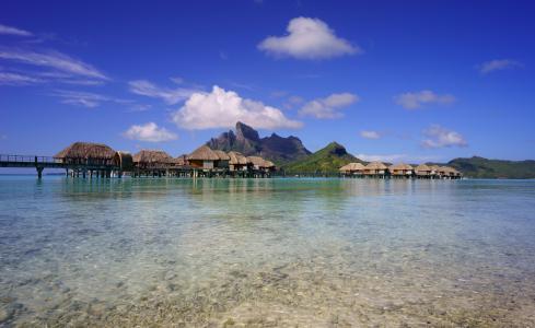 波利尼西亚,热带地区,海,景观,山,天空,波拉波拉岛,平房,性质