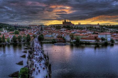 布拉格,布拉格,捷克,捷克共和国,查尔斯,桥,城市,晚上,人,河,伏尔塔瓦河,伏尔塔瓦河