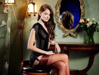 Ann Glazyrina,印第安纳州A,长筒丝袜,棕发,镜子,女孩