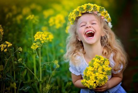 孩子,女孩,卷发,金发,花圈,夏天,鲜花,喜悦