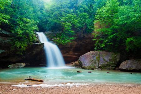 自然,森林,山区河流,小瀑布,美丽,瀑布