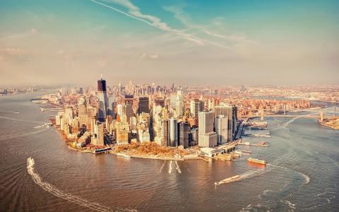 城市,水,远,船舶,港口