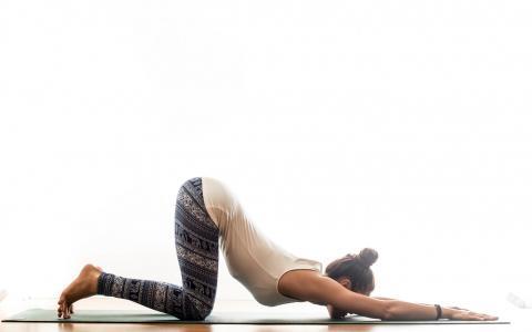 女孩,瑜伽,构成,训练,体操