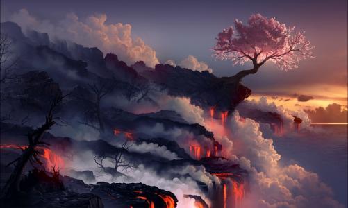 樱花,艺术,景观,岩石,阿基亚,树,火山,熔岩