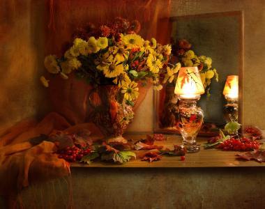 瓦伦蒂娜科洛娃,静物,静物,水罐,花朵,菊花。