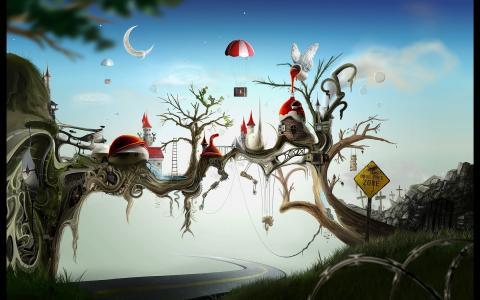 童话国家,道路,房屋,区域