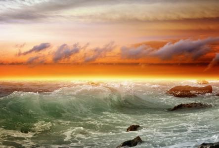 石头,海,波,冲浪,云