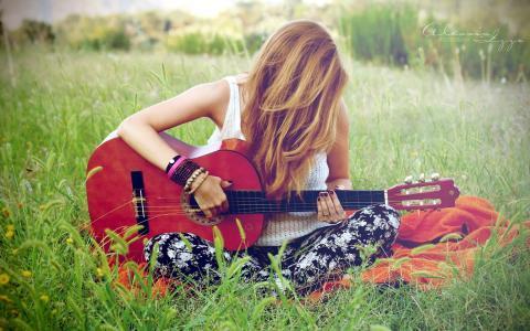吉他,音乐,女孩
