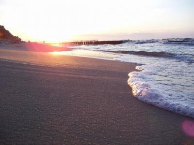 泡沫,自然,太阳,波,海滩,岸,海,夏天,沙,光