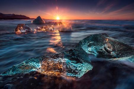 冰,太阳,光,波浪