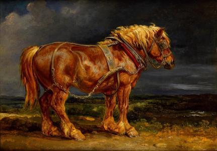 红色,马,绘画,马具,马,云彩