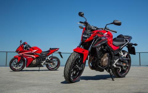 摩托车,自行车,停车场,本田,一对