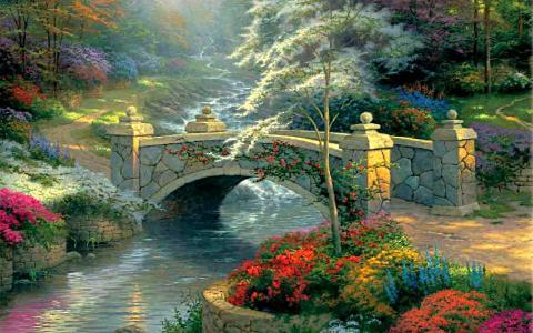 河,桥,鲜花,景观